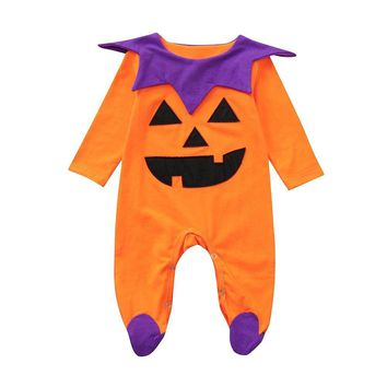 Newborn Baby Girls Boys Romper Jumpsuit Halloween Costume Outfits Children's Long Sleeve Cartoon Pumpkin Wraps One Piece Clothes