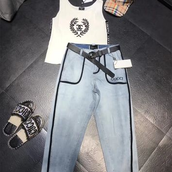 Chanel Tank Top + GUCCI Pants Set Two-Piece