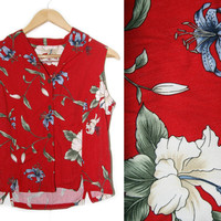Vintage Hawaiian Shirt~Size Small/Medium/Large~90s Floral Tropical Red White Blue Green Crop Top~By Caribbean Joe
