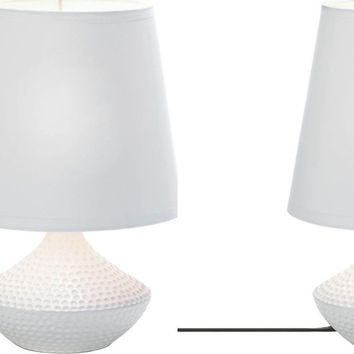 Set of 2 White Dimpled Table Lamps