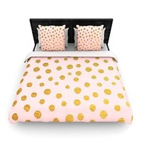 "Kess InHouse Nika Martinez ""Golden Dots & Pink"" Blush 68 by 88"" Woven Duvet Cover, Twin"