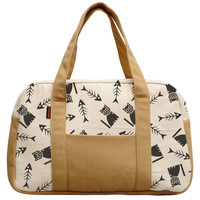 Women's Happy Cat With Bone Fish Beige Printed Canvas Duffel Travel Bags WAS_19