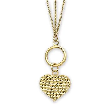 14k Gold Polished 3-Strand Diamond-Cut Heart Toggle Necklace - 18 in.