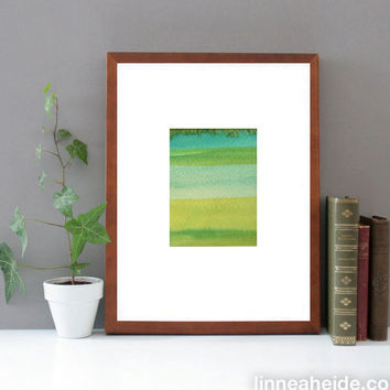Original Watercolor Painting - ombre stripes - gradient - modern minimal - abstract art - green blue - seaglass