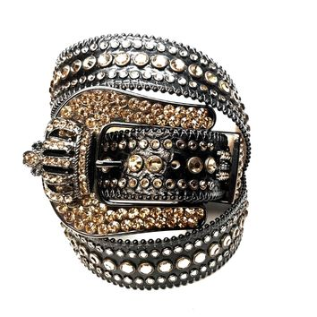 B.B. Simon Black Gold Crown Swarovski Crystal Belt