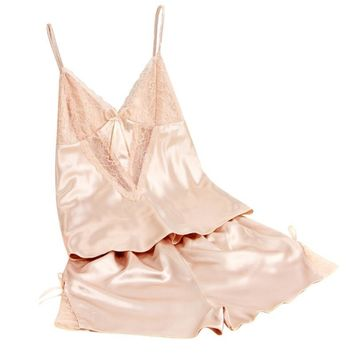Women's Sexy Babydoll Sleepwear Satin Lace Lingerie Robe Shorts Pajamas Set Summer Cool