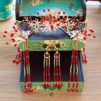 Chinese bride headdress costume hairclips red floral hairpin wedding hairwear and earring photography wedding accessories meiyao