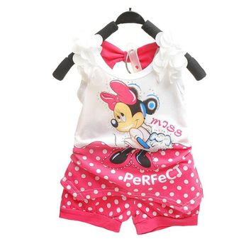BibiCola 2018 children baby girls summer outfit set toddler kids clothing set tracksuit clothes set minnie mouse Tshirt+shorts