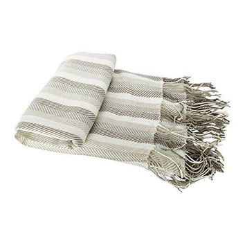 Ben and Jonah Knitted Herringbone Fringed Throw Blanket (Brown Stripe)