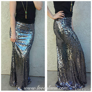 Custom Maxi Gunmetal Skirt -Gorgeous high quality sequins- Long sequined skirt (Can customize length for both short/tall) s, m, l, xl