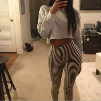 2016 new spring fashion black and white striped stretch leggings influx of women