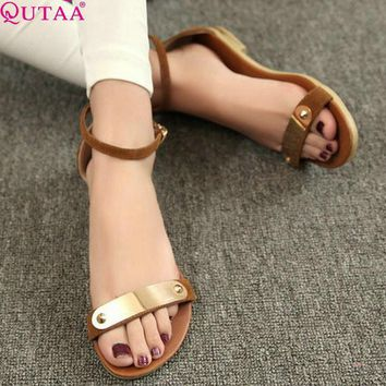 QUTAA 2017 Fashion Genuine Leather Women's Sandals Shoes Summer Flats Sandals Peep Toe