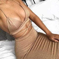 Hot Selling Sexy Women Summer Dress Clothes Sets Hollow Out Bandage Crop Tops +Mini Skirts Sexy Ladies Evening Party Clothes