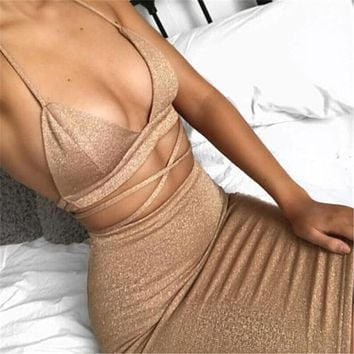Crop top & mini skirt set sexy plunging V-neck ~ 5 colors!