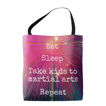 Eat Sleep Repeat, Martial Arts quote pink tote bag