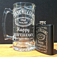 Custom Beer Mug and Flask Set