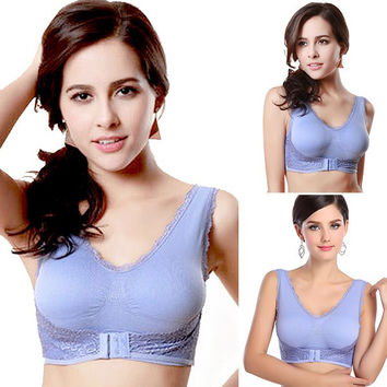 Women's Lace Seamless Yoga Sports Padded Bra Vest Tank Racerback Running Crop Top