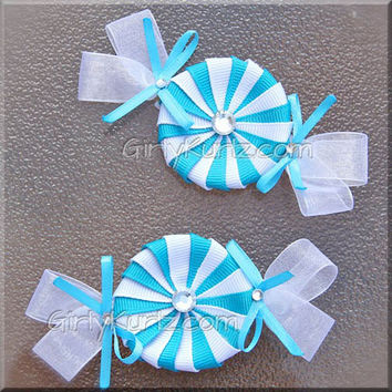 Turquoise Peppermint Candy Hair Clip Set Candy Bow Spring Hair Bow
