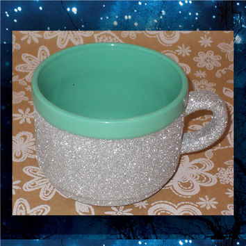 Mint Green Mug with Silver Glitter - Glitter Coffee Mugs - 22oz stoneware mugs - tea mug - glitter cups - glitter mugs