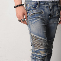 BM Stretch Pintuck Hard Washed Skinny Biker Jeans