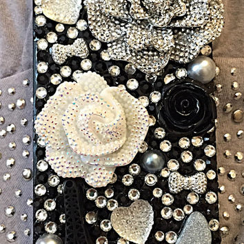 iPhone Elegant Crystal black and white bling phone case, bling case iphone 6, flower phone case, girly iphone case, pearl iphone 5 case
