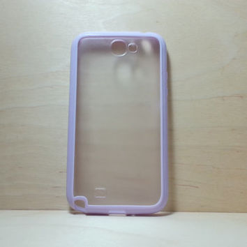 Samsung Galaxy Note 2 Case Silicone Bumper and Translucent Frosted Hard Plastic Back - Lilac
