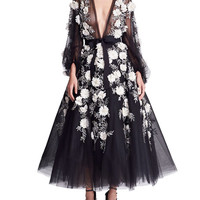 Marchesa Long-Sleeve Floral-Embellished Midi Gown