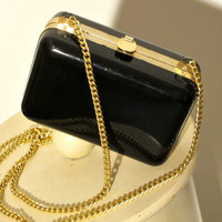Mini Patent Leather Purse - 80s Clueless Handbag - Black Box Bag - Vintage LBD Accessory - FREE SHIPPING