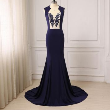 Sexy Backless Evening Dresses Elastic Jersey Mermaid Evening Prom Gowns Sweep Train