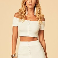Emma Crop Top - White