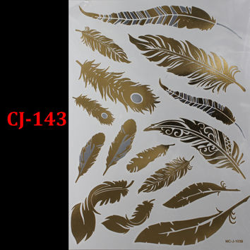 1PC Flash Metallic Waterproof Tattoo Gold Silver Women Fashion Henna CJ-143 Peacock Feather Design Temporary Tattoo Stick Paster