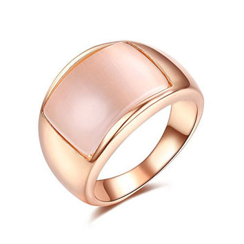 Simulated Opal 12mm Unisex Wide Cocktail Thumb Ring for Women, Size 5.5 to 11