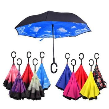 Windproof Reverse Folding Umbrella Self Stand Rain Protection C-Hook For Car