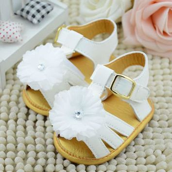 Baby Girl Shoes Summer Infant Skid proof Toddlers Flower Baby Shoes First Walkers Whit