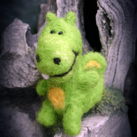 Needle Felted Happy Bright Green and Yellow Dragon, Soft plush toy decoration