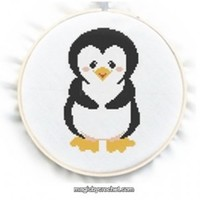 Baby Penguin Cross Stitch Chart Pattern, PDF instant download, No.049
