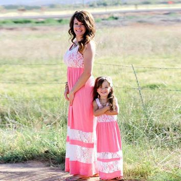 Family Matching Outfits - Mother Daughter Ankle-Length Maxi Dress - Mommy and me clothes