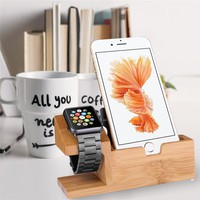 Watch Stand USB Charging Dock Station Bamboo Wood Charger Cradle for iphone X 87 6 6S Plus