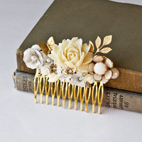 Bridal Hair Comb  Vintage Style Hair Comb Ivory White by lonkoosh
