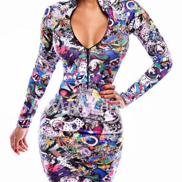 Turtle Neck Long Sleeve Printed Zippered Dress