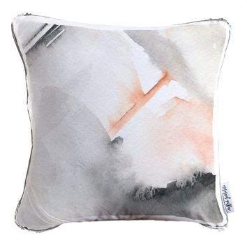 Hand Painted Watercolor Decorative Throw Velvet Pillow w/ Silver & White Reversible Sequins   COVER ONLY (Inserts Sold Separately)