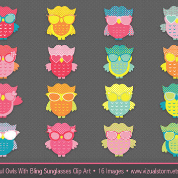 Owl Clip Art, cute and colorful owls in bling sunglasses with polkadot patterns, DIY creative projects, Buy 2 Get 1 Free, Instant Download