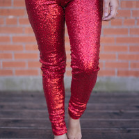 Sequin Legging - RED