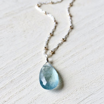 Gorgeous, AAA, Light Steel Blue Moss Aquamarine Briolette Pendant with Gold and Silver Sattelite Chain, Two-Tone Necklace