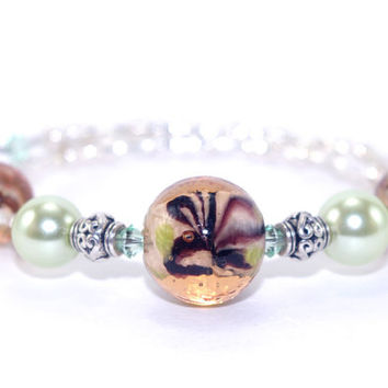 Amber brown glass bead memory wire bracelet, Light green glass pearl, Swarovski crystal, Silver plated heart tube beads, Wrap bangle coil