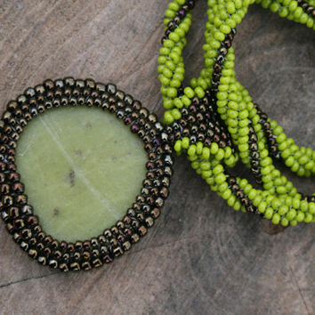 green jade necklace, brown necklace, seed bead necklace, jade pendant, beadwork art, gemstone handmade gift, beaded green stone necklace