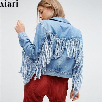 Trendy Women  Slim hot fashion holes Denim Jacket Lady Elegant Vintage Jackets Basic Coats Large size fringe denim jacket AT_94_13