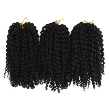 "3Pcs/pack Mali Bob 8"" Soft Curl Curly Twist Crochet Braiding Hair Synthetic Braid"