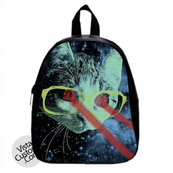 Kitty Lasers Cat Glasses Kitten Hipster Space New Hot School Bag Backpack