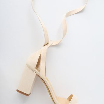 Airis Nude Suede Lace-Up Heels